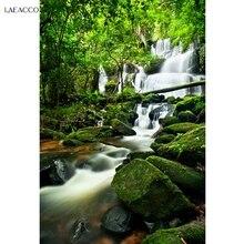 Photography Backgrounds Spring-Waterfall Laeacco Rocks Photo-Studio Scenic Vinyl