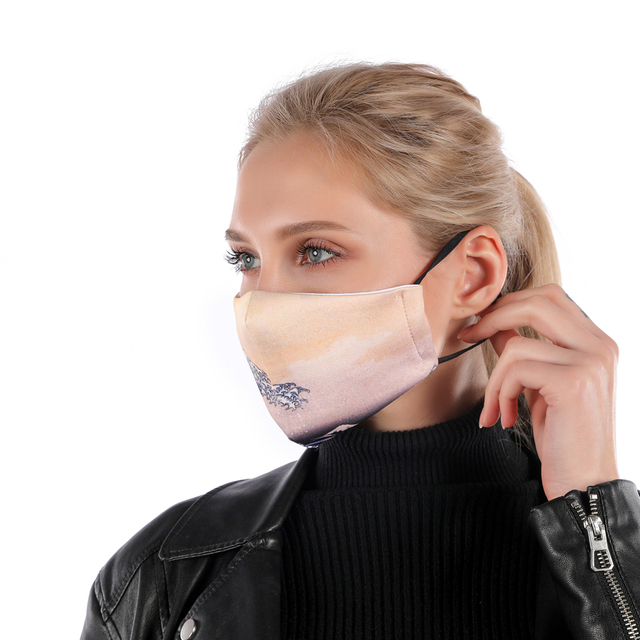 Zohra Printing mouth Mask Reusable Protective PM2.5 Filter Paper Mask anti dust Face mask bacteria proof Flu Mask 1