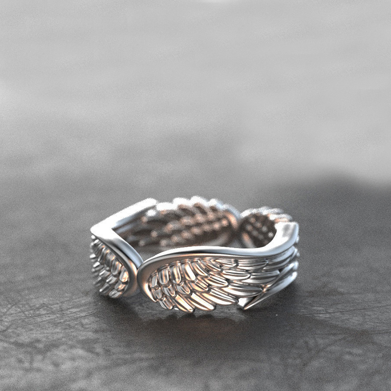 Exclusive Silver Plated Angel Wings Ring For Men Women Gothic Steampunk Party Anniversary Ring Adult Unisex Jewelry Gift H4T739 2