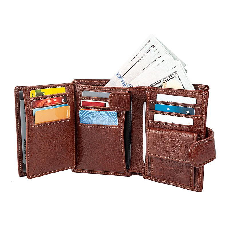 Men's Short Wallet Genuine Leather Clutch Wallets Purses Coin Pocket Multi-Card Card Holder Male Multifunctional Cowhide Purse