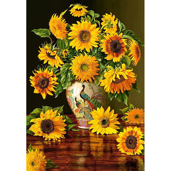 New Assembling European Imports Puzzle Castorland Peacock Vase with Sunflower Puzzle 1000pieces Assemble Toy for Gift