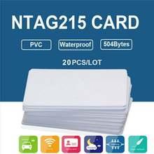 20 adet NFC kartları beyaz boş NTAG215 PVC etiketleri su geçirmez 504 bayt çip etiket