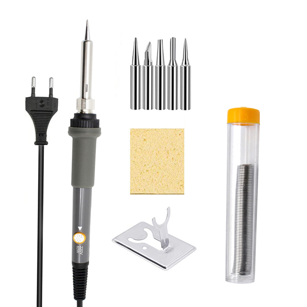 5pcs Multifunctional Gray Soldering Iron Kit Electronics 60W 220V Adjustable Temperature Welding Service Tool