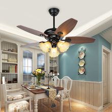 High Quality Glass American Retro Style E27 Remote Control LED Ceiling Fan Lamp 42 Inch Mute Bedroom Home Wooden Blade Fan Lamp