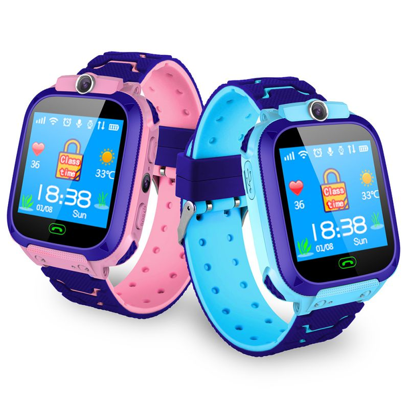Kids Smart Waterproof Watch Anti-Lost Kid Wristwatch With GPS Positioning And SOS Function Blue Pink Watchs For Children W2