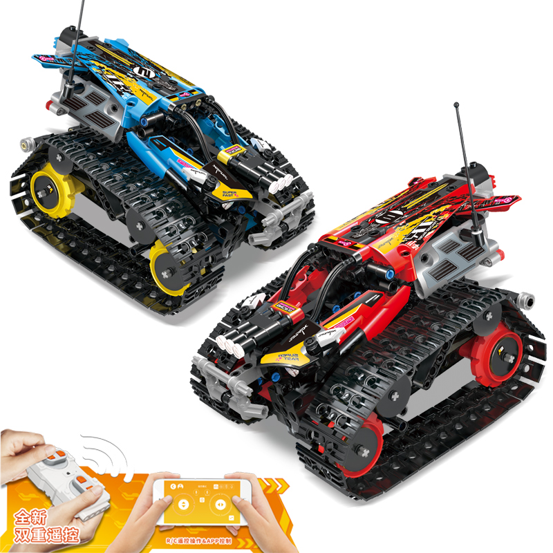 Creator APP Remote Control Car Bricks Fit <font><b>Legoed</b></font> <font><b>42065</b></font> Technic RC Tracked Racer Model Building Blocks Toys For Children Gifts image