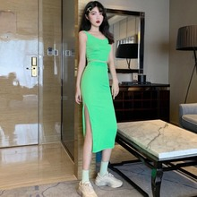 Women New Fashion Dress 2 Pieces Set Sexy Sleeveless Tank Crop Top Slim Side Split Skirt Women Solid Color Summer Casual Sets sexy solid color women two pieces suit sleeveless pullover crop top pencil midi skirt solid bodycon dress 2019 new women sets