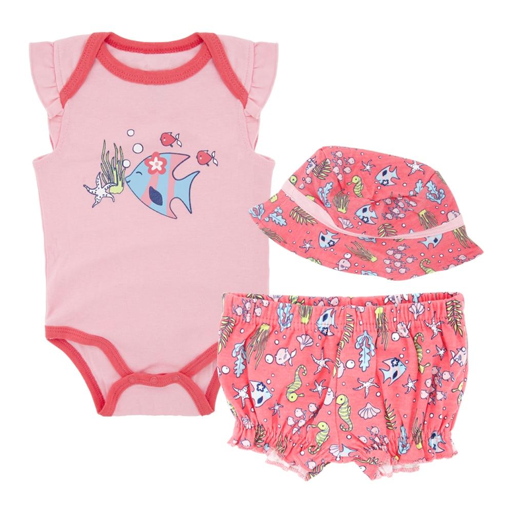 Honeyzone Newborn Bodysuits 2020 Summer Cotton Animal Print Sleeveless Baby's Clothing Sets Baby Girl Onesie Shorts Pyjamas Bebe
