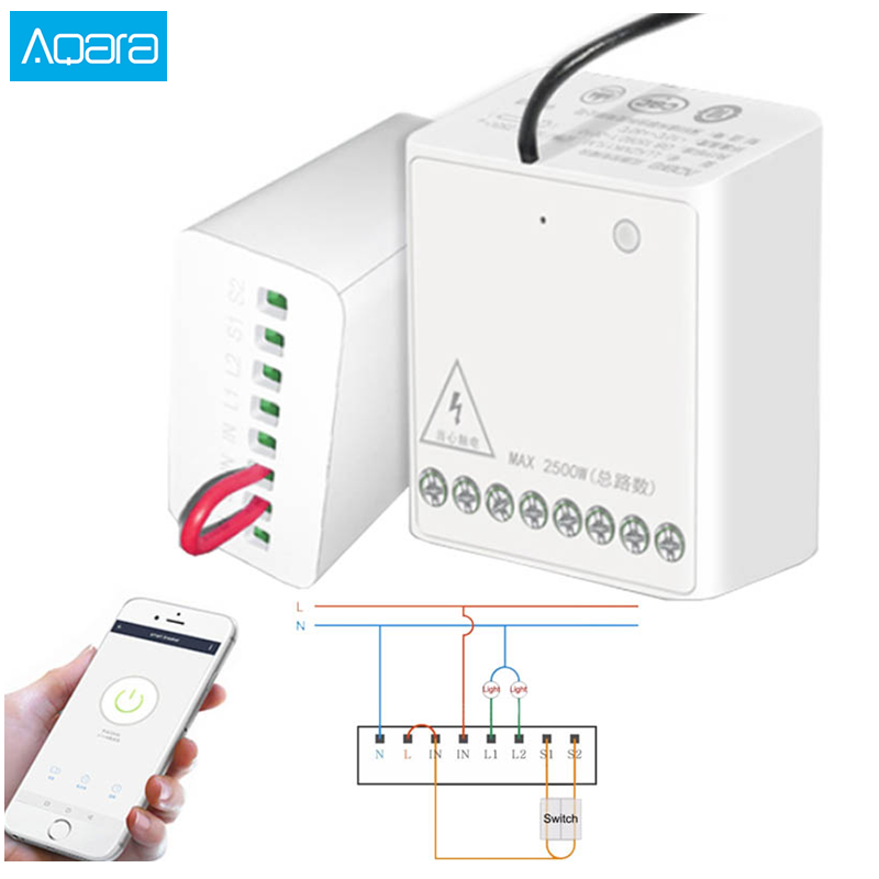 Aqara Eigenstone Two-way control module Wireless Relay Controller 2 channels Work For Mijia Mi home APP Homekit