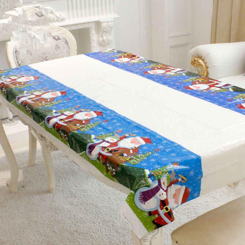 Creative Oilproof עץ חג המולד/שלג/סנטה/חג המולד פעמון מפת שולחן עמיד למים שולחן כיסוי בד בית תפאורה