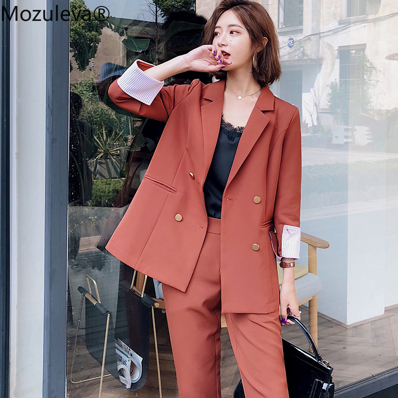 Mozuleva Fashion 2 Pieces Set Double Breasted Blazer & Long Pant Suit Women Casual Jacket Workwear Sets Female Suit High Quality