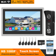 HomeFong bezprzewodowy Wifi inteligentny drzwi wideo domofon telefoniczny System 10 cal ekran dotykowy HD 1080P dzwonek do drzwi uchwyt na aparat przesuwając karty