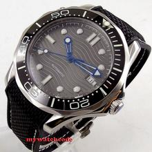 цена 41mm bliger sterile grey wave dial sapphire glass ceramic bezel automatic mens watch B245 онлайн в 2017 году