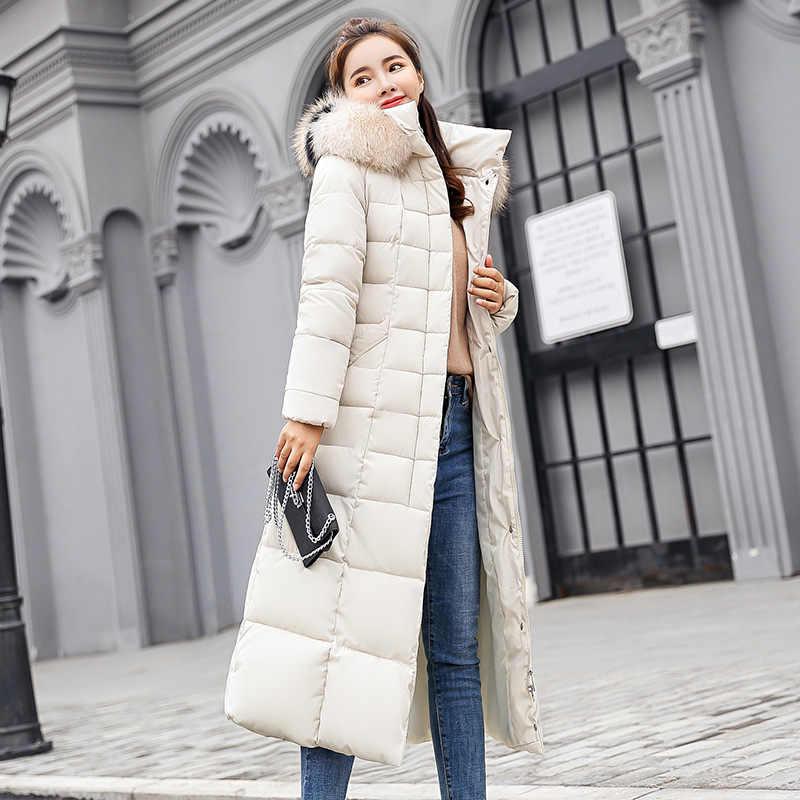 X-long à capuche hiver veste femmes Super chaud fourrure capuche veste parka dames vestes et manteaux parkas mujer 2019 longue femme veste