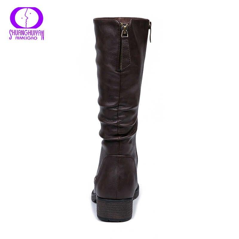 AIMEIGAO Sıcak Kürk Kış Orta buzağı Çizmeler Kadın Fermuarlar Siyah Deri Kar Botları Kadın Yuvarlak Ayak Düşük Topuklar Bayanlar uzun Çizmeler Sıcak