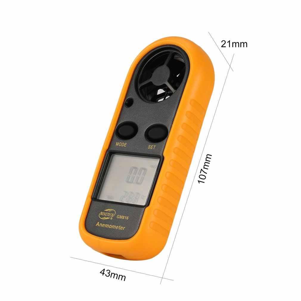 BBENETECH GM816 Digitale Anemometer Windmeter Thermometer Luchtsnelheid Luchtstroom Temperatuur Wind Gauge met LCD Backlight