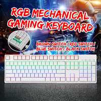 104 Keys NKRO USB Wired RGB Backlit Gateron Switch PBT Double Shot Keycaps Mechanical Gaming Keyboard for Office PC Laptop