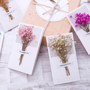 Image 2 - 10pcs Gypsophila fiori secchi scritto a mano benedizione biglietto di auguri di carta regalo di compleanno inviti di nozze