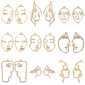 10pcs/lot Art Abstract Human Face Hollow Charms Pendant Gold Alloy for DIY Jewelry Findings Necklaces Earrings Accessories(China)