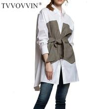 TVVOVVIN Women Shirt Blouse Cotton Loose Long Blouse Shirts