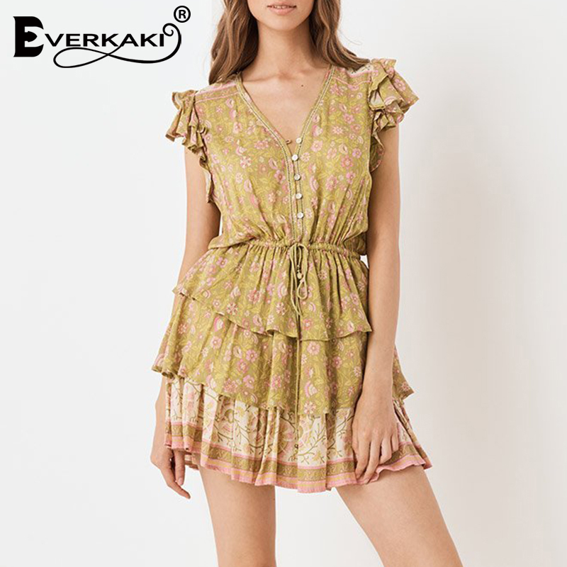 Everkaki Ruffles Boho Print Mini Dress Women with Sashes Buttons Gypsy Ladies Beach Short Dresses Female 2019 Summer Autumn New
