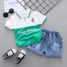 Baby boys clothing sets summer children cotton tops+shorts 2pcs tracksuits for baby boys toddler fashion wedding clothing  2020 2018 summer children clothing baby boy fashion cotton sleeveless star print top denim shorts baby boys clothing suit 2pcs s2