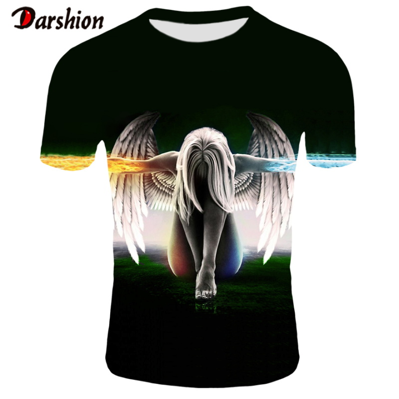 Summer 3D Funny Round Neck Hip Fire Hop Men s Graphic Tshirt Tee Angels Casual Tops