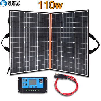 110w 12v 18v Flexible Foldable Solar Panel home kit 100 w Portable Charger power system 5v USB for Phone battery RV Car Camping flexible solar panel plate 12v 5v 10w 20w 30w solar charger for car battery 12v 5v phone battery sunpower monocrystalline cells