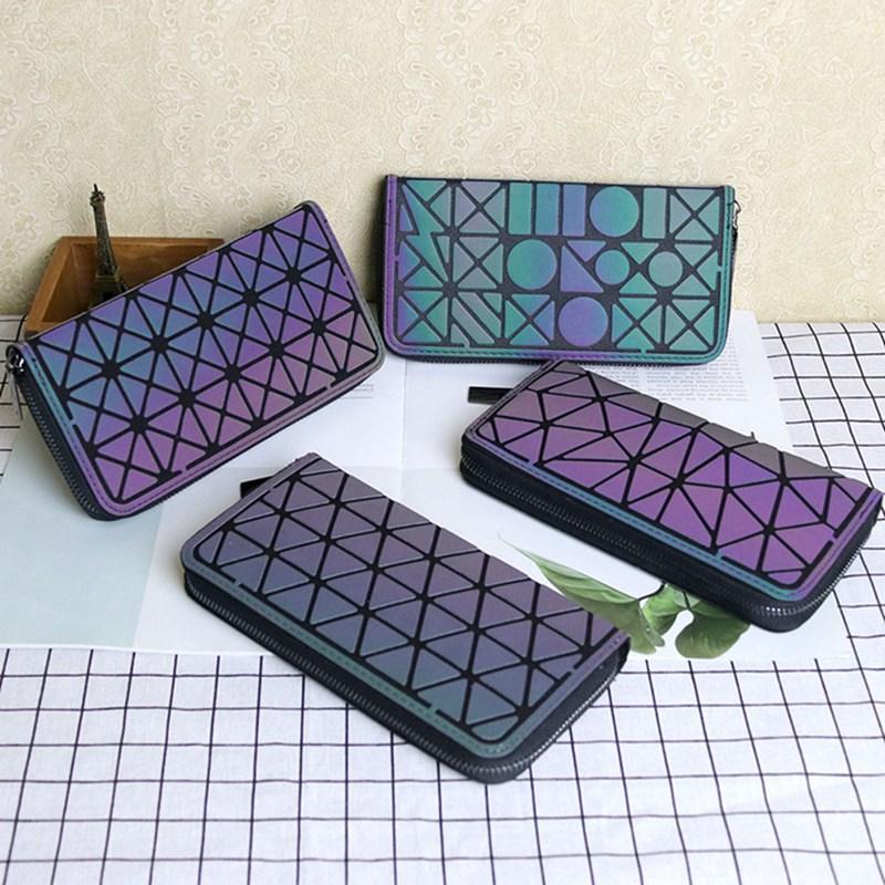 1PC Luminous Rhombus Wallet Long Geometric Pattern Long Wallet Women Girl Fashion Night Luminous Purse Card Hold Clutch Dropship
