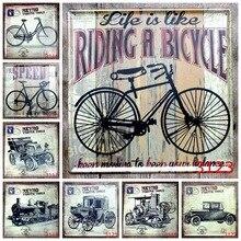 Estilo Europeo coche bici carro lata señal Vintage Bar Pub café pegatina decorativa de pared pinturas en hierro Retro placas de Metal cuadrado Plauqe