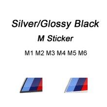 Серебристо-черная пластиковая наклейка с эмблемой для BMW M Power Logo M1 M2 M3 M4 M5 M6 значок E30 E36 E39 E46 E60 E90 F10 F20 F30 G01 G30