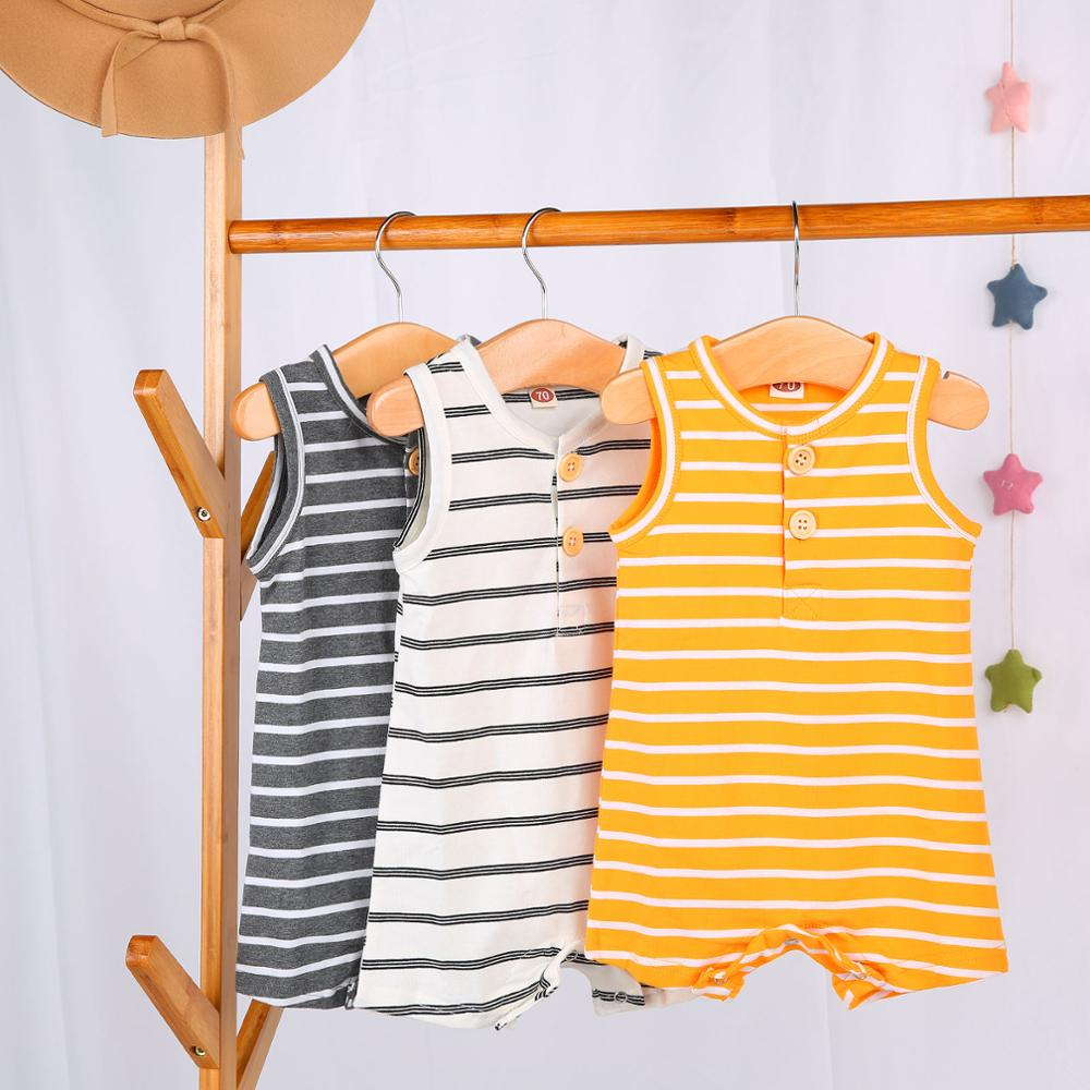 2019 Baby Summer Clothing 0 24 Newborn Infant Baby Boy Girl Striped Romper Clothes Sleeveless Striped Summer Outfit Jumpsuit