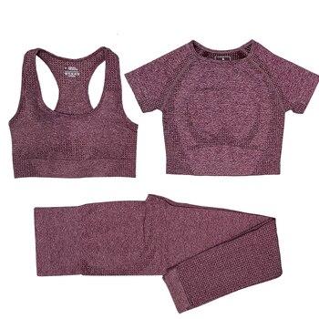 Seamless Women Vital Yoga Set Workout Shirts Sport Pants Bra Gym Clothing Short Crop Top High Waist Running Leggings Sports Set 2