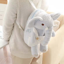 1Pcs 40CM Cartoon Elephant Hairy Backpack Child Cute Animal Plush Toy Girl Cosmetic Bag Valentines Day Gift