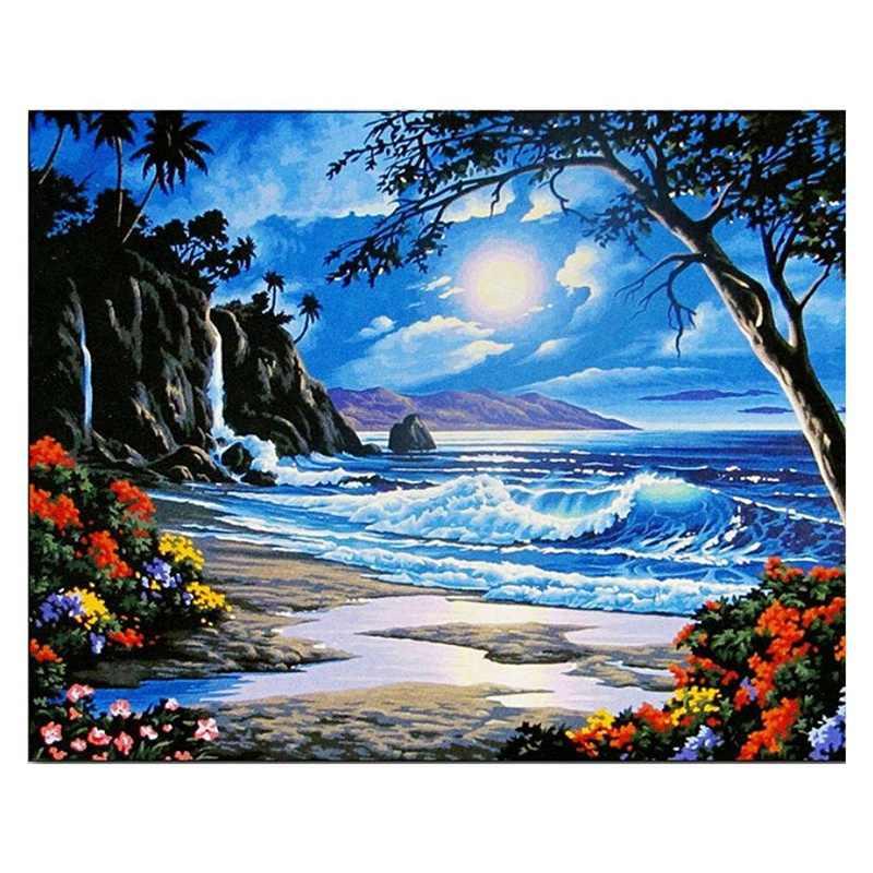 2 セット 16 × 20 インチ枠なしの油絵: 1 セットキャンバス数字による DIY デジタル油絵キットペイント装飾の山小屋 1 セット