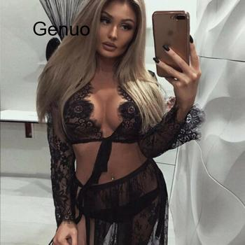 Women Sheer Lace Deep V Plunge Tie Up Knot See Through Blouse Crop Top Sexy Black Summer Beach Cover Up sexy baby blue deep v neck self tie flounced crop top