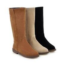Talons bas femme bottes bout rond zipchaussures Slip-on femme troupeau chaussures mi-mollet botte automne hiver bottes femmes grande taille 44 09-27