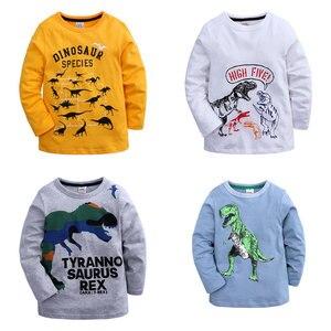 Kids Boys Dinosaur Graphic T Shirts Summer Children Girls Tops Long Sleeve Boy Tops Spring Autumn Kids Clothes 3-14 Years