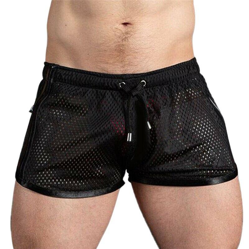 2020 Newest Summer Men Board Shorts Bathing Suit Shorts Swimsuit Sexy Beach Shorts Striped Men Swimwear Mesh Trunks