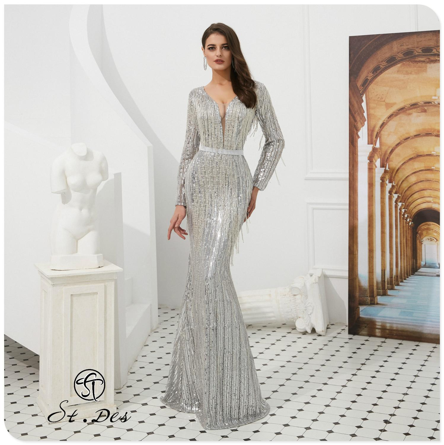 NEW Arrival 2020 St.Des Mermaid V-Neck Russian Sliver Long Sleeve Designer Floor Length Evening Dress Party Dress Party Gown