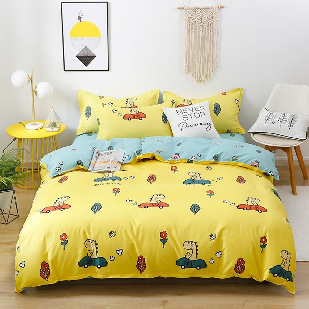 Cartoon Bedding Set Kids Duvet Cover with Pillowcases single double queen king size bedlinen 3Pcs