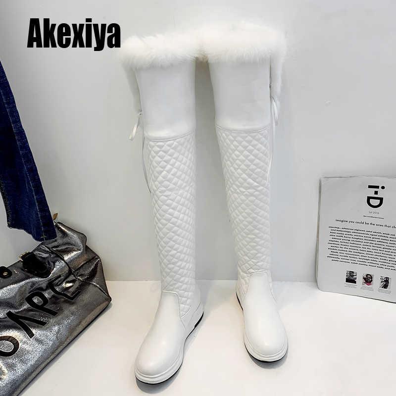 Trên Đầu Gối Giày Nữ Dày Cao Gót Giày Bốt Thời Trang Giày Mũi Tròn Đùi Cao Cấp Giày Mùa Đông Ấm Áp Giày lông nhân tạo giúp giữ ấm Đen k868