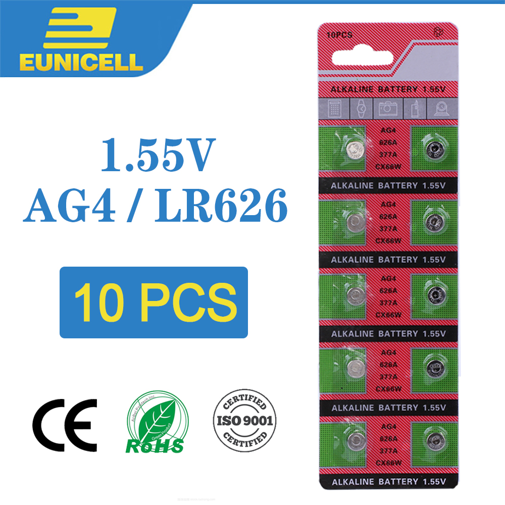 Eunicell 10pcs Alkaline Cell Coin Battery 1.55V AG4 LR626 Button Batteries 377A 377 LR66 SR626SW SR66 SR62 AG 4 For Watch Toys