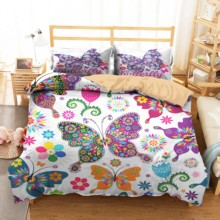 Comforter Sets Soft Material Color Butterfly Printed Duvet Cover Home Textiles with Pillowcases Bed Linen