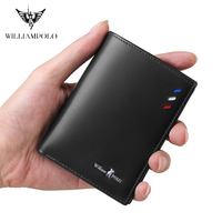 WILLIAMPOLO Vertical Standard Wallet Short Slim Thin Genuine Leather Men Fashion Card Holders Wallet for BoyFriend Gift 2019 New