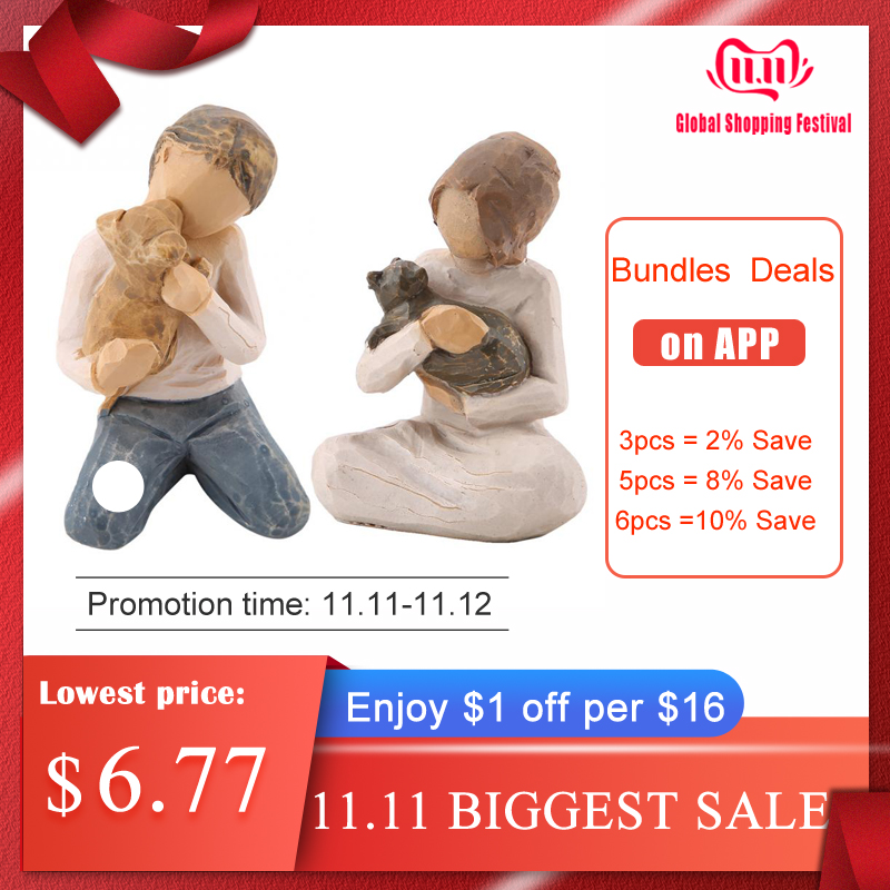Lovely Man&Woman Hugging Pets Shape Resin Figurine Decoration Statue Model Sculptures For Fashion Home Decor Resin Figurine