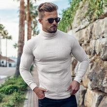 Biały Casual swetry z golfem męskie swetry jesień zima moda cienki sweter solidna Slim Fit dzianiny z długim rękawem