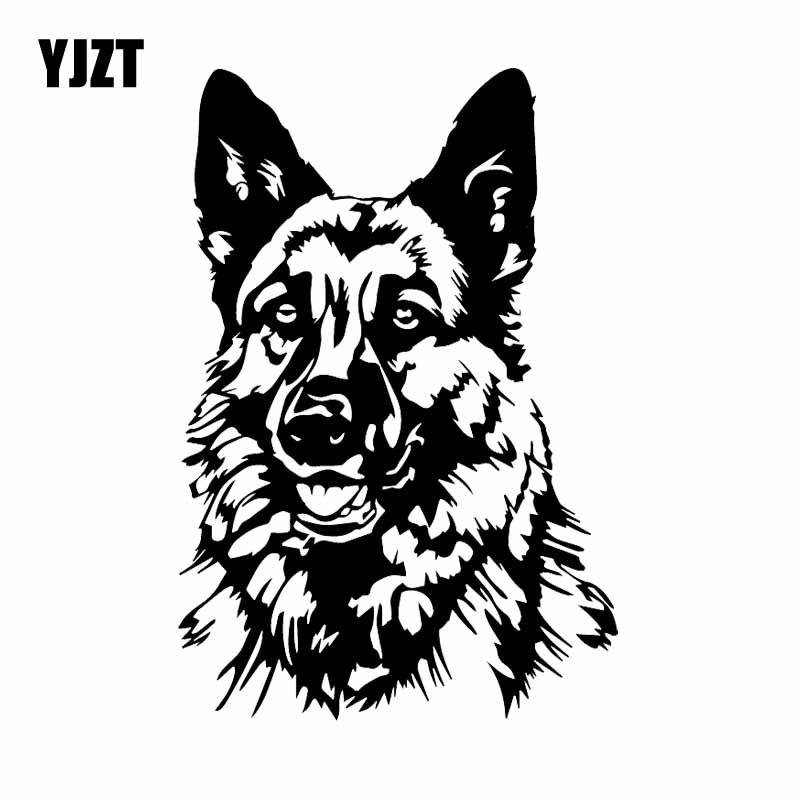YJZT 11.9X17.7CM Funny Animal Car Sticker Vinyl Decal German Shepherd Dog Black/Silver C24-1596