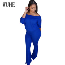 WUHE Casual Sexy Off Shoulder Long Sleeve Jumpsuits New Arrival Women Autumn Slim Elegant Rompers Female Plus Size XXL