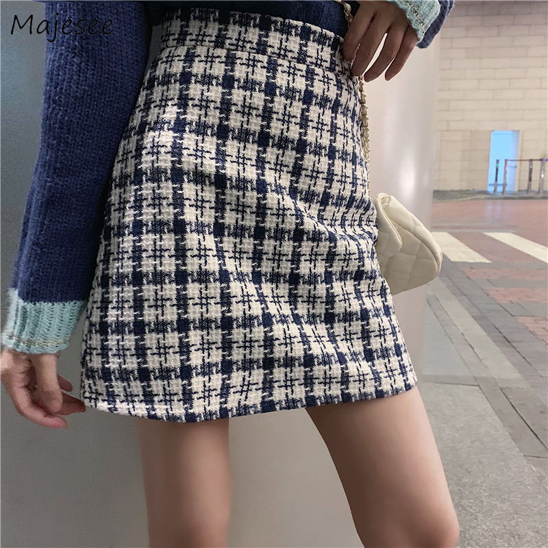 Skirts Women Plaid Elegant Mini Vintage Simple All-match Skirt Womens Korean Style Harajuku High Waist Sexy Fashion Casual Daily